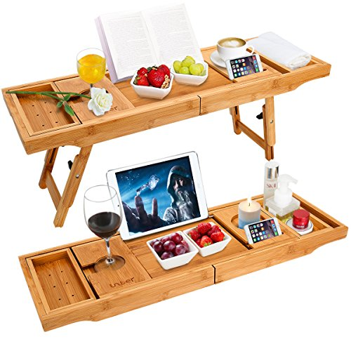 Wooden-Life Bathtub Caddy Tray& Laptop Desk with Foldable Legs, 2 in 1 Wisdom Design – Luxurious...