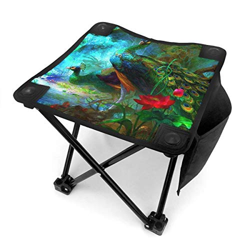 liang4268 Camping Hocker Portable Folding Camping Chair Peacock Lightweight Collapsible Stool for Hiking Fishing Travelling Gardening Outdoor 12 Inch