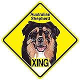 MiMiTee Australian Shepherd Xing Blechschilder Weinlese-Metallplakette Wandkunst Plakat Eisen-Malerei Haus Dekoration Kunsthandwerk Cafe Bar Hof Geschenk
