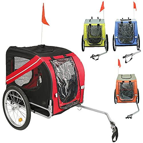 Remorque Vélo pour Chien Pliable, Remorque Vélo avec Ceinture de Sécurité et Drapeau, Charge Max. 40KG (Rouge Noir)