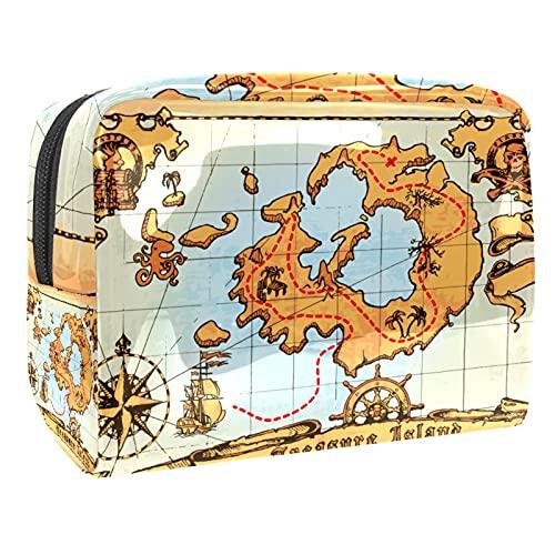 Kit de Maquillaje Neceser Antiguo Mapa Pirata Make Up Bolso de Cosméticos Portable Organizador Maletín para Maquillaje Maleta de Makeup Profesional 18.5x7.5x13cm