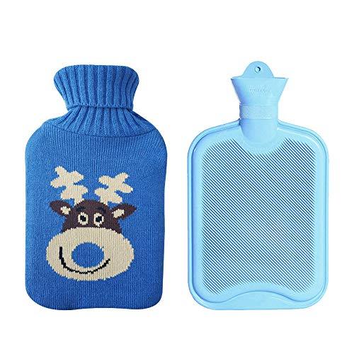 Drizzle Botella de Agua Caliente Botella de Goma Clásica Premium Opaca con Tapa Bolsa de Agua Caliente Para Noches Acogedoras Alivio del Dolor en la Espalda, Cuello y Hombros 2L(Blue Elk)