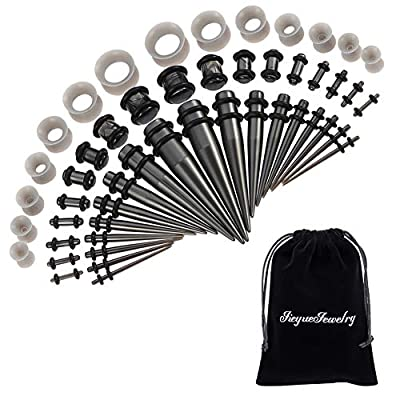 50 Pieces Ear Stretching Kit 14G-00G by JieyueJewelry - Acrylic Tapers and Plugs + Silicone Tunnels - Ear Gauges Expander Set Body Piercing Jewelry (Space Gray)