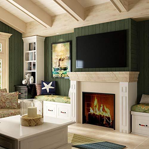 Retro American behang donkergroen houtlook strepen vliesbehang verbetering van de woonruimte slaapkamer woonkamer sofa TV achtergrond muur stof 1 rol muur 83603 Green