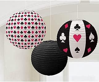 Casino Round Printed Paper Party Lanterns, 9.5