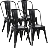 Yaheetech Iron Metal Dining Chairs Stackable Side Chairs Tolix Bar Chairs with Back Indoor/Outdoor Classic/Chic/Industrial/Vintage Bistro Café Trattoria Kitchen Restaurant Matte Black, Set of 4