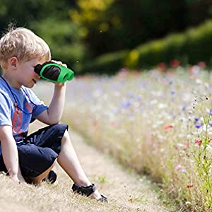 Luwint 8 X 21 Kids Binoculars, Mini Compact and Image Stabilized, Green