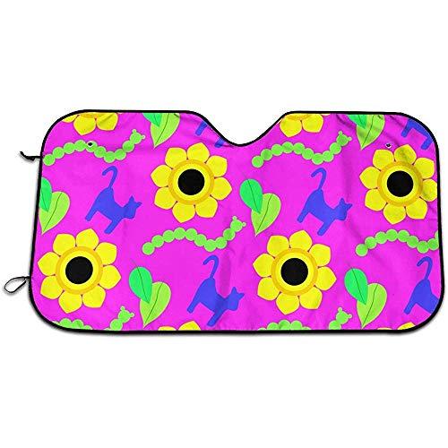 J.HAN Car Sun Shades Windschutzscheiben-Sonnenschutz, Bunte Sonnenblumen und Raupe für Auto, Windschutzscheibe, Sonnenschutz, hält Ihr Fahrzeug kühl. UV-Sonnenreflektor