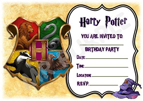 Inviti per feste di compleanno a motivo Harry Potter con stemma...