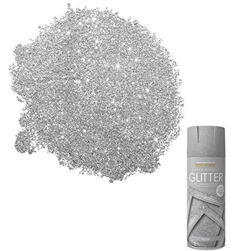 Rust-Oleum Glitzer-Sprühfarbe Super Sparkly Gold oder Silber (400 ml) oder Farbe zum Verstreichen (250ml), Silber Glitter, x1 400ml Spray