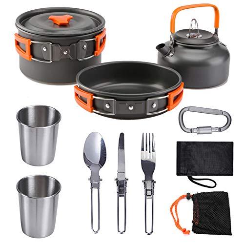 Juego de utensilios de cocina para camping, 10 piezas, utensilios de cocina plegables, portátil, de aluminio, con mini hornillo de gas, portátil, ligero, para camping, senderismo, naranja, small