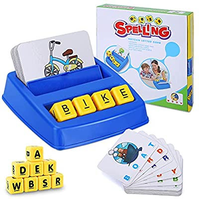 Toddler Learning Toys Preschool Games: Montessori Educational Toys for 2 3 4 5 Year Old Boys Girls Gifts  Matching Letter Spelling for Kids  Kindergarten Word Flash Cards Memory Activities from Lemofix