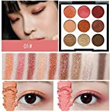 DOUYUAN Purple Paleta de Sombras de Ojos Maquillaje cosméticos Diamante del Brillo del Metal Conjunto Shadow Professional 9 Color Nude emulsionado Pigmento (Color : 01)