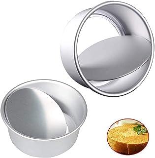 Mirrwin Moule à Gâteau en Aluminium Moule à Gâteau Rond Profond Moules à Gâteaux Ronds Inférieurs avec Base Amovible en Al...