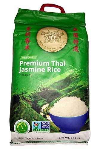 Four Elephants Premium Thai Jasmine Rice Certified Non-GMO, 25 Pounds