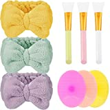 3 Pieces Microfiber Bowtie Headbands Soft Makeup Headbands, 3 Pieces Silicone Face Mask Brushes Silicone Face Cleanser and Massager Brushes, 3 Pieces Facial Mud Mask Applicators for Girls and Women