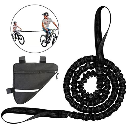 Corda da Traino MTB per Bambini, Corda da Traino per Bicicletta Fune di Trazione per Genitore-figlio Bici Bungee Corda Elastico Nero