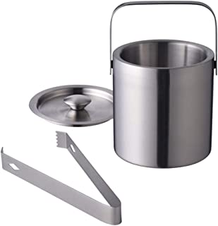 Stainless Steel Ice Bucket by LUCKYGOOBO - Portable Double Wall Ice Bucket with Tong, Barware/Champagne Bucket/Beverage Bucket,Serveware for Party,Event,and Camping, 1.3 Liters 5.5 x 5.5 Inch