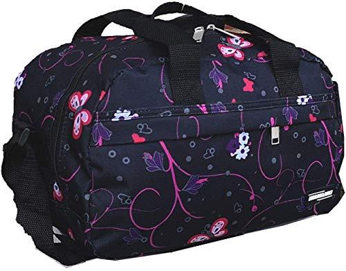 Ryanair Cabin Bags 40x20x25 Hand Luggage Maximum 2020 Size Holdall, Free Under Seat Flight Bag (1 x Black & Pink Flowers Bag)