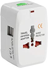 SILTON Universal Adapter Worldwide Travel Adapter with Built in Dual USB Charger Ports (White)