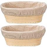 GaoF 2X Cesta de fermentación de Pan Ovalada de ratán, tamaño 25x15x8cm, Capacidad para 750 g de Masa, fermentación de Masa Agria, Pan Artesanal