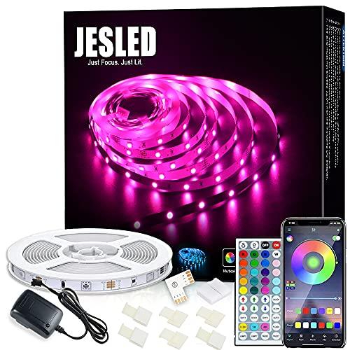 Striscia LED Wifi, JESLED LED Striscia 5M SMD 5050 RGB Strisce,Compatibile con Alexa Echo e Google Home, 44 Tasti Telecomando, per TV,Camera da letto, Decorazioni per feste e per la casa