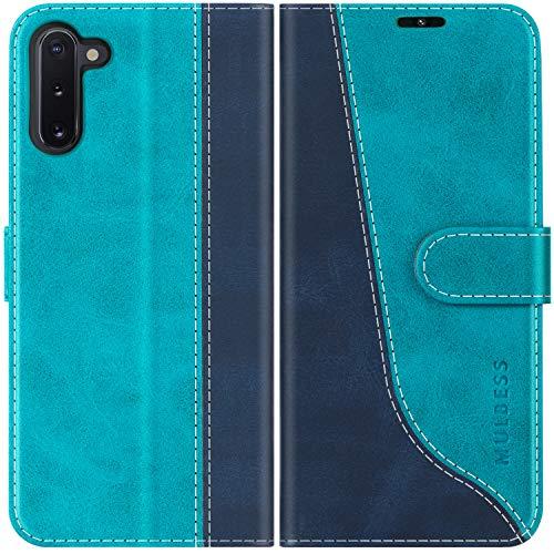 Mulbess Custodia per Samsung Note 10, Cover Samsung Note 10 Libro, Custodia Samsung Galaxy Note 10 Pelle, Flip Cover per Samsung Galaxy Note 10 Portafoglio, Blu Mint