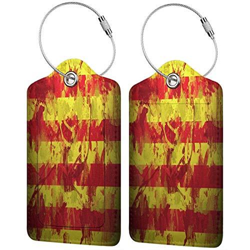 FULIYA Juego de 2 etiquetas de equipaje seguras de alta gama de cuero para maletas de equipaje, tarjetas de visita o bolsa de identificación de viaje, España, pintura, fondo, textura, Barcelona