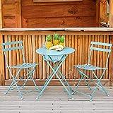 Set tavolo + 2 sedie, pieghevole azzurro