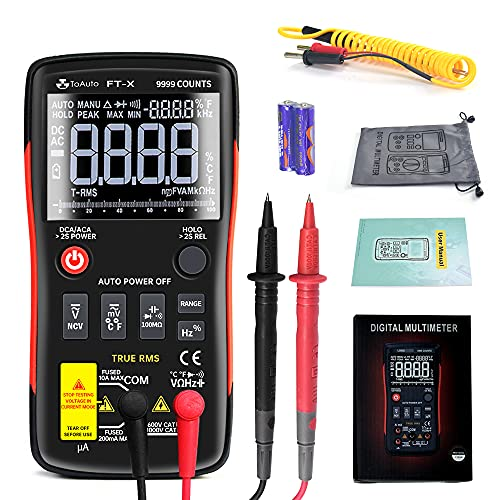 Digital Multimeter, Auto-Ranging 9999 Counts Portable Multimeter Tester Frequency Counter Voltage Current Resistance Capacitance Diode Temperature, with Protective Bag