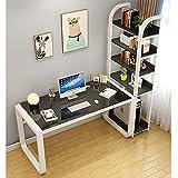 XM&LZ Casa Oficina Mesa De Ordenador con Estantería,Moderno Estudio Escritorio con Hermosa Mesa De Cristal Tablero,Dormitorio Mesa Gaming para El Estudiante-D 100x50x75cm(39x20x30inch)