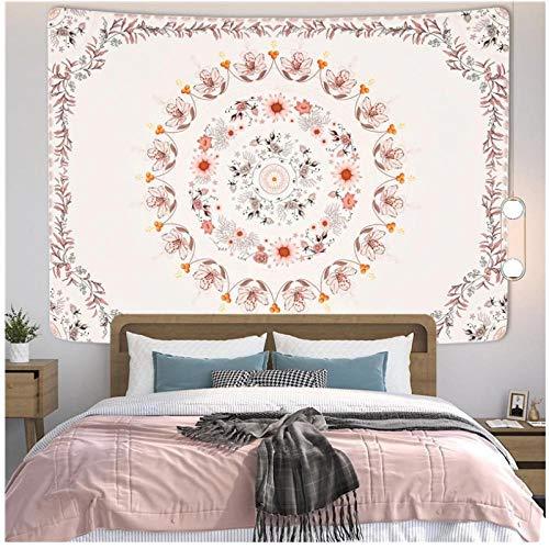 KBIASD Tapiz Rosa para Colgar en la Pared, Mandala Bohemio Floral, Tapiz Hippie, Flor Rosa, diseño estético, decoración de Pared, 150X130cm