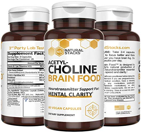 Natural Stacks Acetylcholine Supplement 60 ct - Faster Thinking & Memory Support - Powerful Fast Acting Formula with Alpha GPC, Choline and White Peony Extract - Stops Brain Fog