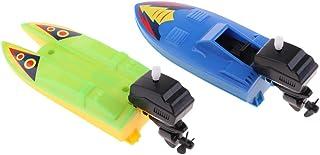 HOMYL 2 Pcs Plastic Clockwork Wind up Toy Tub Pool Playset Water Speed Boat Toy