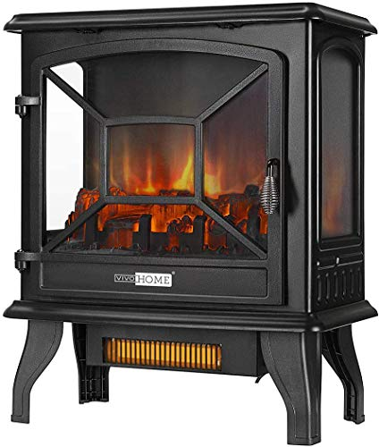 VIVOHOME 23 Inch 1400W Portable Free Standing Infrared Electric Fireplace Stove Heater with Realistic Log Flame Effect