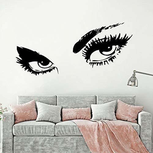 Hermosa dama ojos vinilo etiqueta de la pared maquillaje ejercicio fitness