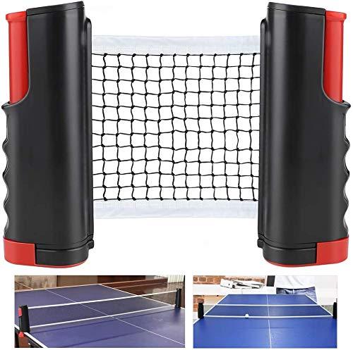 HR - Rete da ping pong da ping pong regolabile, retina retrattile di ricambio, supporto mobile da viaggio, rete da ping pong a scomparsa, colore nero