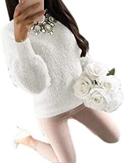Womens Casual Jumper Knit Fluffy Mohair Baggy Pullover Sweaters