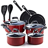 Cook N Home Stay Cool Handle Pattern 12-Piece Nonstick Cookware Set, Marble Red
