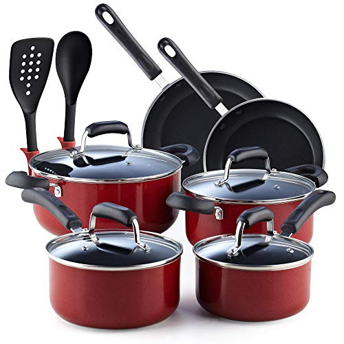 Cook N Home 2601 Stay Cool Handle Pattern 12-Piece Nonstick Cookware Set, Marble Red