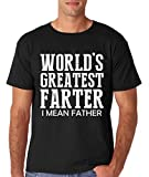 AW Fashions Worlds Greatest Farter, I Mean Father - Funny Dad Men's T-Shirt (Large, Black)