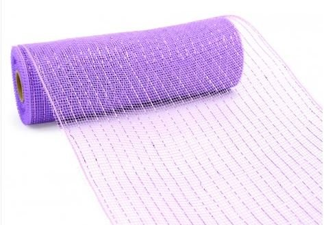 10 inch x 30 feet Deco Poly Mesh Ribbon - Lavender and Lavender Foil : RE130113