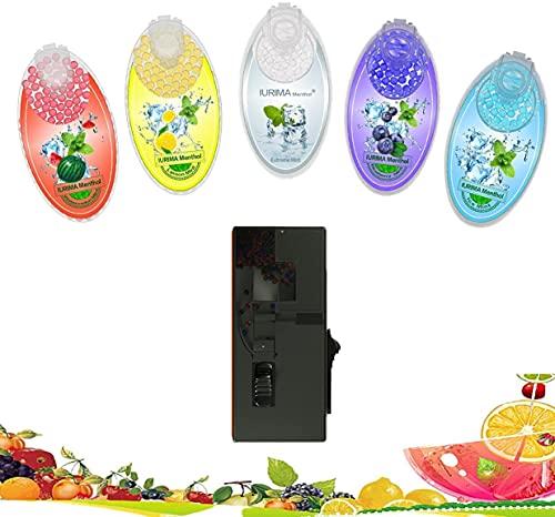 Dispenser per crushball ricaricabile con 100 palline Flavoured Crushball Capsules Black (Black Dispenser, 500 Crushball)