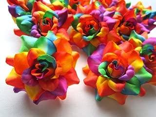 (24) Silk Rainbow Roses Flower Head - 1.75