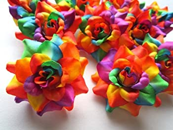 24  Silk Rainbow Roses Flower Head - 1.75  - Artificial Flowers Heads Fabric Floral Supplies Wholesale Lot for Wedding Flowers Accessories Make Bridal Hair Clips Headbands Dress