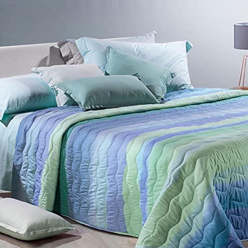 Caleffi Steppdecke/Steppdecke/Quilt Einzelbett/Einzelbett aus Mikrofaser Art.Danubio 170_x_270_cm Kornblumenblau
