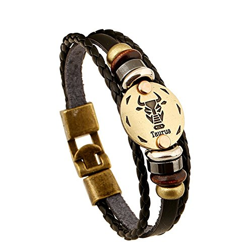 Soleebee Schmuck Herren Damen Armband,Tierkreis Sternzeichen Charms Druckknopf Größen Armreif Büffelleder Legierung Schwarz (Stier)