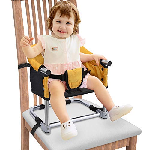 Portable Booster Seat Travel Feeding Seat, Baby Folding High Chair for Home & Travel, Toddler Booster Chair Yellow