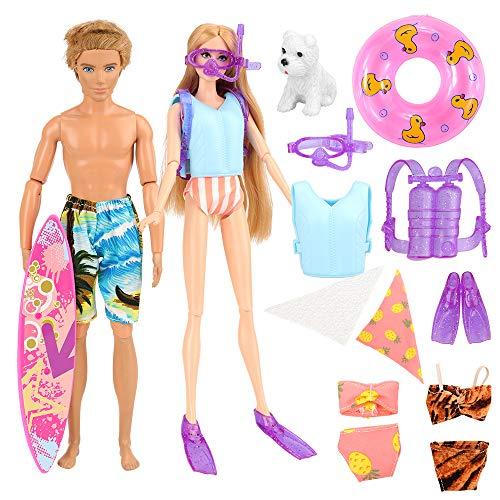 Miunana 12 PCS Kleider & Puppenzubehör für Puppen (1 Strandkleidung & 1 Rettungsweste für Jungen Puppen und 4Pcs Tauchen Set & 3 Bademode & 1 Surfbrett & 1 Rettungsring & 1 Hund für Mädchen Puppen)