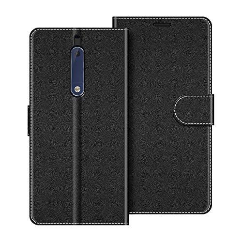 COODIO Handyhülle für Nokia 5 Handy Hülle, Nokia 5 Hülle Leder Handytasche für Nokia 5 Version 2017 Klapphülle Tasche, Schwarz